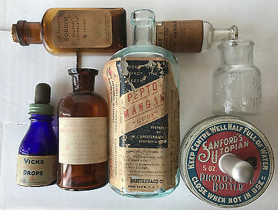 Lot of 7 Vintage Collectible Glass Medical Bottles Early 1900s