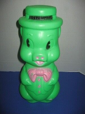 Vintage 1964 Renzi Corp Blow Mold Piggy Bank Pig Green Plastic
