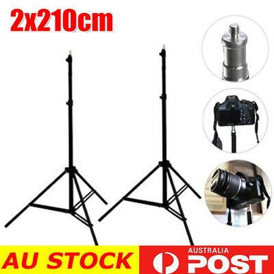 2X 2.1M Photo Studio Light Stand Tripod Lighting Kit For Umbrella Flash Lighting