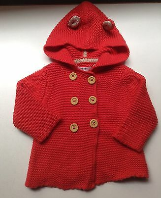 Baby Boden Sz.3-6mo Red Double Breasted Hooded Sweater with Ears