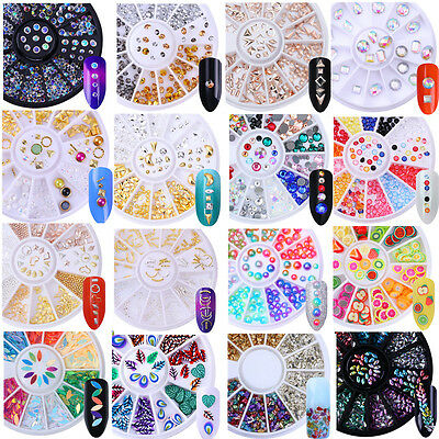3D Nail Rhinestones Studs Acrylic Tips Stickers Decorations Wheel Manicure DIY