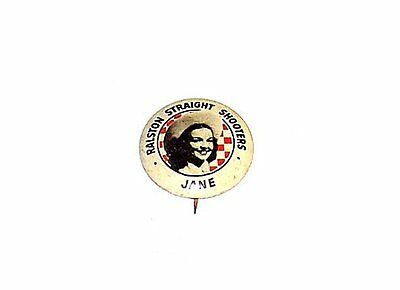 Vintage Ralston Straight Shooters Jane Advertising Pin Button Badge Pinback Ofr