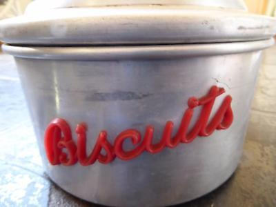 Vintage Biscuit Cake Tin with Red Bakelite Letters and Knob