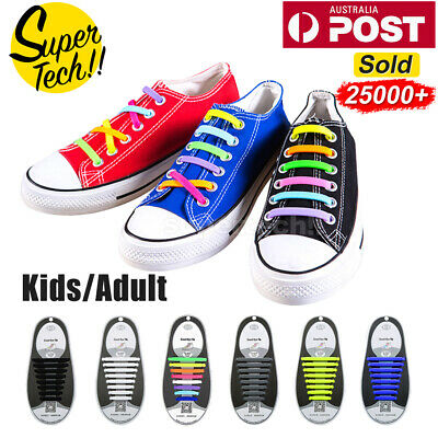 Coolnice Easy No Tie Elastic Lazy ShoeLace Silicone Trainers Shoes Adult Kids