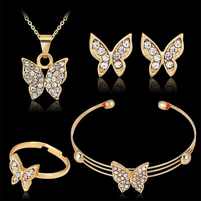 Hot Gold Jewelry Set Crystal Butterfly Necklace Earrings Chain Bracelet Ring Set