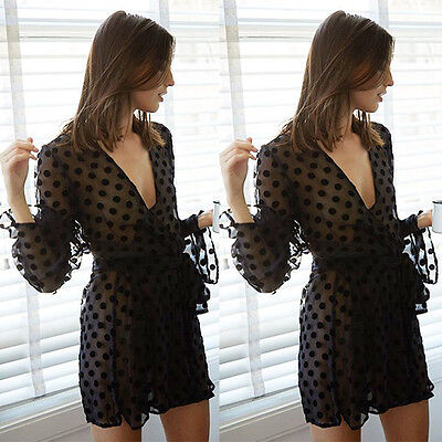Women Lingerie Black Lace Robe Dress Babydoll Nightdress Sleepwear Nightgown
