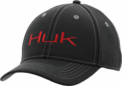 Huk Boys Deluxe Tech Snap Logo Baseball Hat One Size Black/red