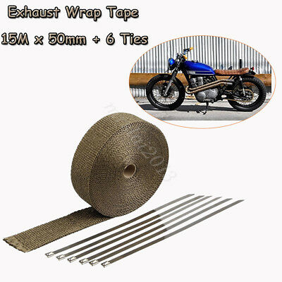 "Exhaust Heat Wrap Titanium 2"" 15M  Roll Insulation Pipe Tape + 6 Stainless Ties"