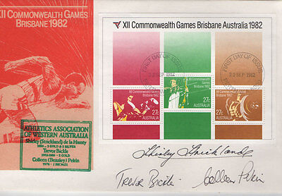1982 Commonwealth Games Cover_FDC_SIGNED By Shirley Strickland, Bickle & Pekin