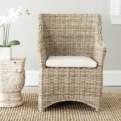 Rural Woven Dining St Thomas Indoor Wicker Wood Washed Out Brown Wing Back
