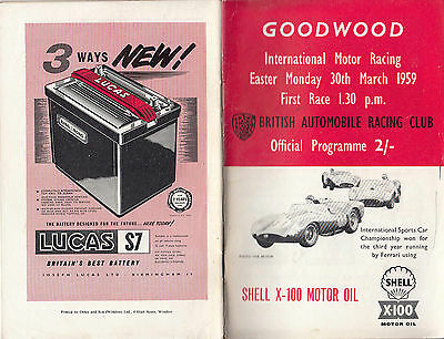 GOODWOOD INTERNATIONAL MOTOR RACING EASTER MONDAY 30th  MARCH 1959 PROGRAMME.