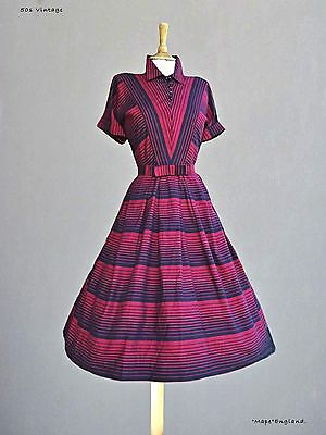 "50s Vtg ""Toni Hunt""  STRIKING DAY DRESS - BLACK & RED STRIPES  40"" Bust"