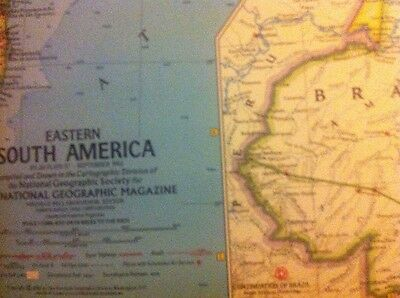 National Geographic Society single sided map of Eastern South America (1962)
