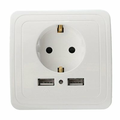 Dual USB Port 5V 2A Electric Wall Charger Adapter EU Plug Socket Power Outlet