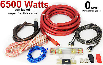 0 Awg Gauge G Amp Amplifier Wiring Cable Kit 6500 Watts High Power Best Quality