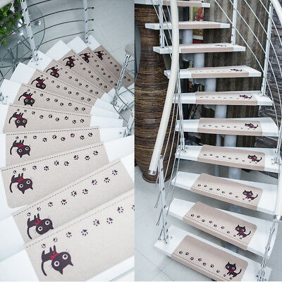 15pcs Staircase Home Carpet Stair Mats Area Rugs Pads Step Stair Treads Non-slip