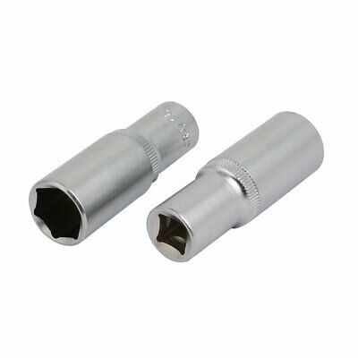 3/8-inch Square Drive 16mm Hex 6 Point Deep Impact Socket Silver Tone 2pcs