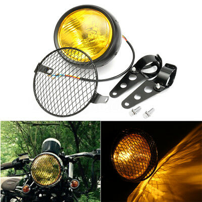 "6.5"" Retro Bracket Mount Grill Headlight Amber Motorcycle Universal Cafe Racer"