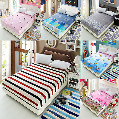 Floral Coverlet Fashion Fitted Sheet Soft Cotton Washable Floral Bed Cover Set