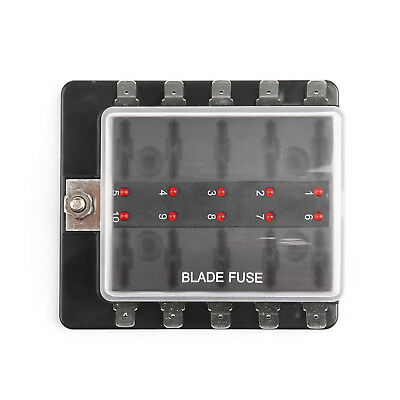 SCI R3-76 1 Power In 10 Way Blade Fuse Box LED Fuse Holder Kit Car/Boat/Marine