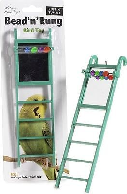 Caged Ice Small Bird Toy Bead n Rung with Mirror, Budgie Cockatiel Canary Finch