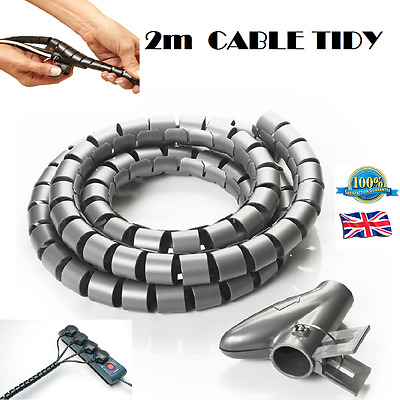 2m CABLE TIDY Spiral Wrap Cable Tidy Wire Organising Tool Kit Cable & Clip DIY
