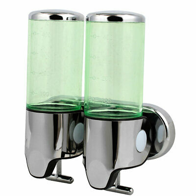 ABS Plastic Wall Mount Double Chember Soap Dispenser Green, 17 oz Each Capacity