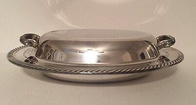"WM A Rogers Oneida Covered Dish Vegetable Casserole 12"" Long Silver Plate"