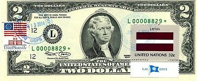 Money Us $2 Dollars 2003 Federal Reserve Star Note And Flag Of Latvia Gem Unc