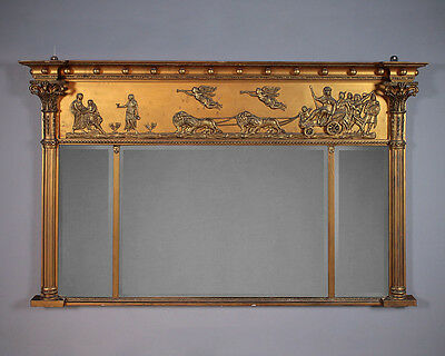 Antique Overmantle Mirror with Classical Frieze c.1890.