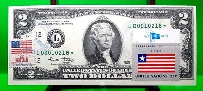 Money Us $2 Dollars Federal Reserve Star Note 2003 Flag From Liberia Gem Unc
