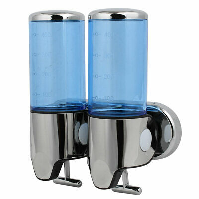 ABS Plastic Wall Mount Double Chember Soap Dispenser Blue, 17 oz Each Capacity