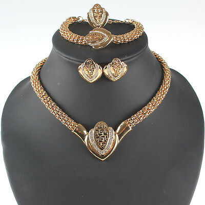 Women Gold/Silver Plated Crystal Wedding Party Necklace Jewelry Sets