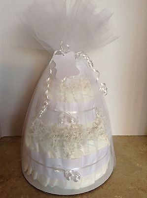 UNDECORATED- 3 Tier Diaper Cake- WHITE-