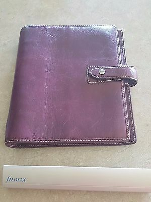FILOFAX Malden A5 Planner / Organizer - Purple Leather w/ metal hole punch!