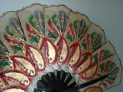 vintage womans hand held fan multi color peacocks