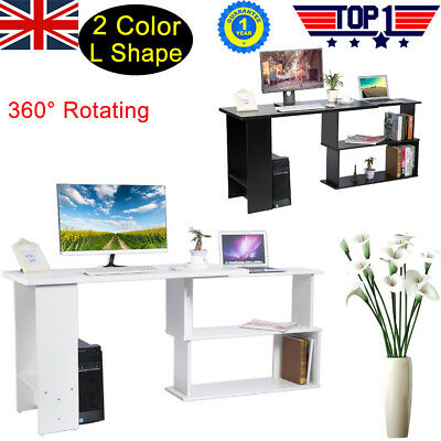 360° Rotating L-Shape Corner PC Computer Desk Home Office Laptop Table Value Buy