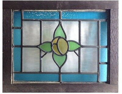 English Antique Victorian Stained Glass Window. 17 w x 13 h