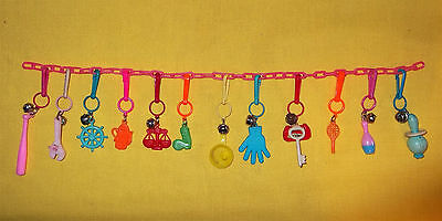 VINTAGE RETRO 80s PLASTIC CLIP-ON BELL CHARMS on CHAIN