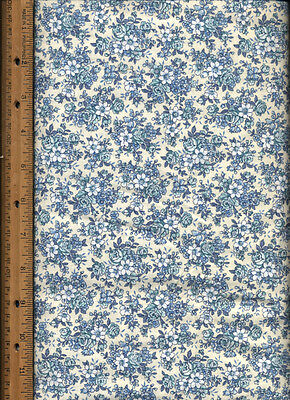 Blue Aqua Roses Flowers white cotton calico Quilt Quilting Fabric by half yard