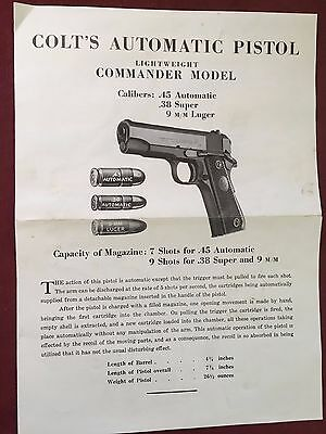 "ADVERTISING Brochure""COLT Automatic PISTOL""Lightweight Commander Cal .45.38 9mm"