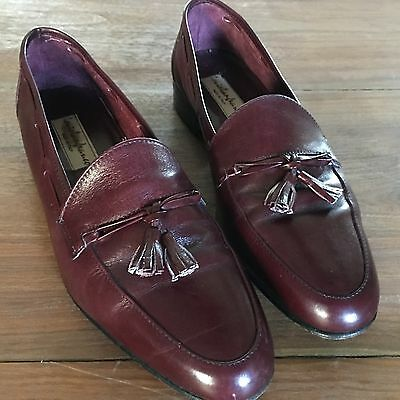 Louis Lanfranco Made In Italy Men's Sz 9 M Shoes w/Tassel Deep Red Dress Loafers