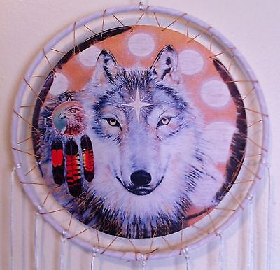 "Cherokee 26"" Dream Catcher, Wolf Printed on Canvas, White Feathers, Black Beads"