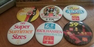 Vintage McDonald's Pinback Button Pin lot Advertising Collectible 6 Pins