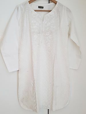 Pakistani Ladies White L Size Short Shirt (Kurti, Top) High Quality, Events Wear