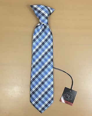 NWT Boy's Tie Will Logan Easy Clip Style Blue Plaid Event Holiday
