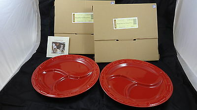 Longaberger Set of 2 Woven Traditions Tomato Red Divided Dinner Plates - NEW