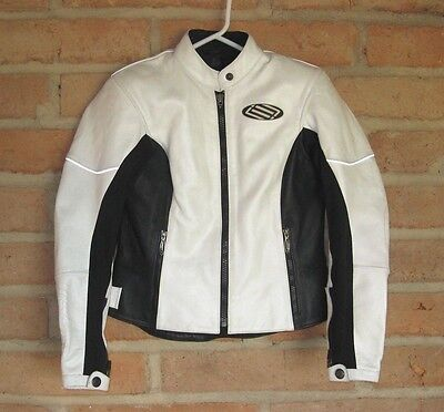 SHIFT White Leather Racing Motorcycle Jacket with Armor ~ Women's Small