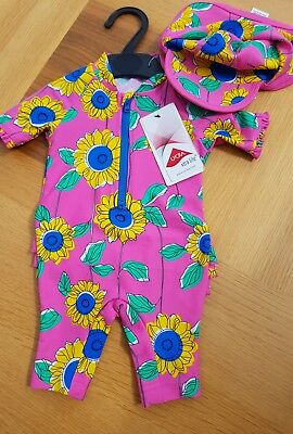 Baby Girl Safe in the sun all in one swim suit with hat age 0-3 months