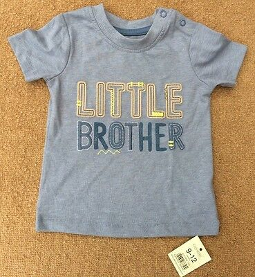 Baby Boys Little Brother Slogan T-Shirt From George Age 9-12 Months Bnwt
